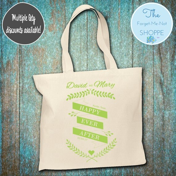 Happily Ever After Canvas Tote Bags, Bachelorette Totes, Nautical Bachelorette, Wedding Favor Bags, Tropical, Married, Gifts, Favors