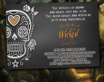 Halloween Party Invitation, Halloween Invitation, Day Of The Dead Invitation, Halloween Party, Halloween Birthday Party, Sugar Skull