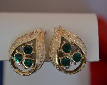 Vintage Green Rhinestone Earrings Gold Tone Clip Earrings  ships in 24 Hrs