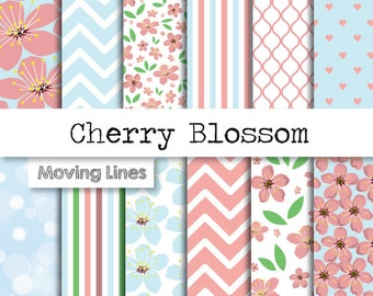 Floral Digital Paper Pack, Cherry Blossom, Flower Background, Scrapbooking Papers, Newborn Pink and Blue, Paper Craft