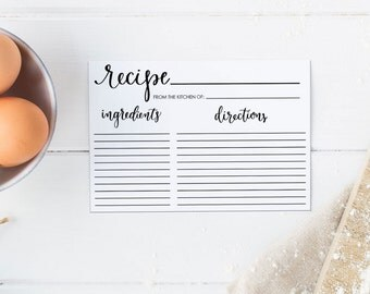 Editable Recipe Card, Recipe Card Printable 4x6, Recipe Card Template, Bridal Shower Recipe Card with Calligraphy. Instant Dowload