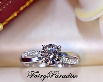 1 Carat Twisted infinity engagement ring, Promise ring for her, Sterling silver anniversary rings, Man made diamond ring (Fairy Paradise)