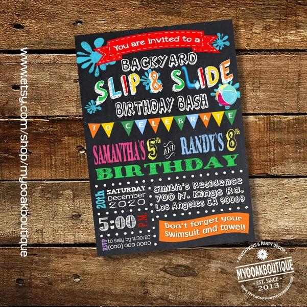 Slip And Slide Backyard Bash Invitation Birthday Party Water