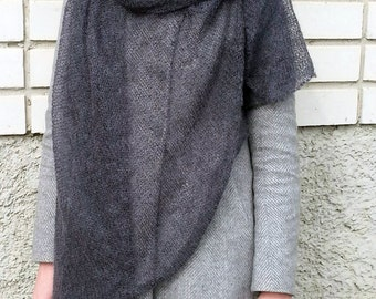 Mohair scarf oversized, extra large knit scarves, graphite grey shawl, charcoal lightweight wrap, dark gray mohair, minimalist knitwear