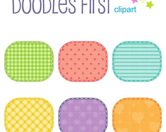 Patterned Patches Digital Clip Art for Scrapbooking Card Making Cupcake Toppers Paper Crafts