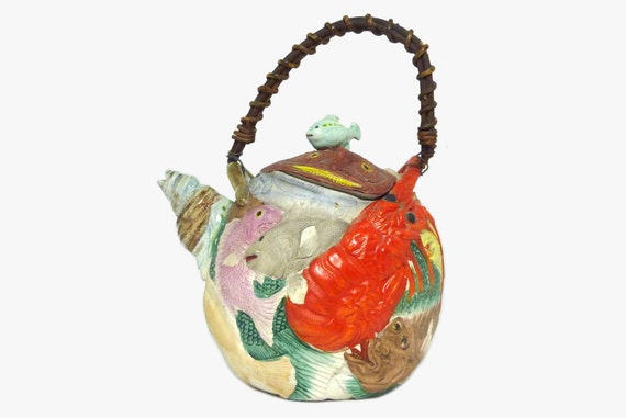 Antique Japanese Banko Ware Tea Pot Sealife Meiji Period