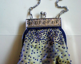 Small Blue Beaded Evening Bag - 4857