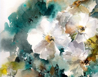 Original Watercolor Painting, Jasmine Painting, White Flowers Painting, Watercolour Art