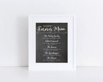 Smore Wedding Favor, Smores Wedding, Smores Sign, Smores Bar, Smores Menu, Smores Bar Sign, 8x10 Instant Download Printable