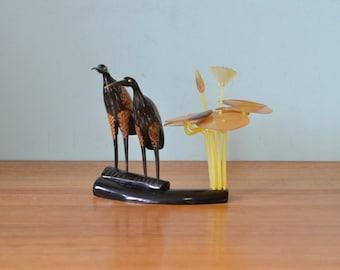 Vintage kitsch  resin birds figure figurine retro funky display birds