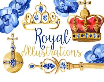 Royal Illustrations, Watercolor Crowns, Crown Clip Art, Orb and Scepter, Royal Blue, King and Queen Clipart, Royalty Clip Art, Gold Clipart