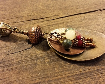 Boho Necklace, Mixed Metal Necklace, Southwestern Necklace, Country Western Necklace, Pendant Necklace