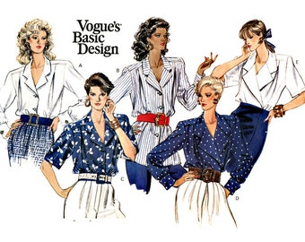 Vogue 2226 Vogue's Basic Design notch-collar blouse with five variations uncut sewing pattern