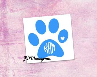 Paw Print Monogram Sticker