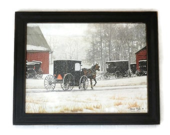 Amish Picture, Heading Home, Horse and Buggy, Art Print, Primitive Decor, Wall Hanging, Handmade, 28X22, Custom Wood Frame, Made in the USA