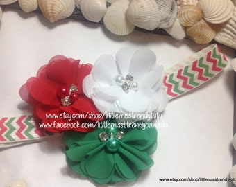 Christmas Headband, Red White Green Headband, Holiday Headband, Headband for Christmas, Girls Headband, Christmas, Santa Headband