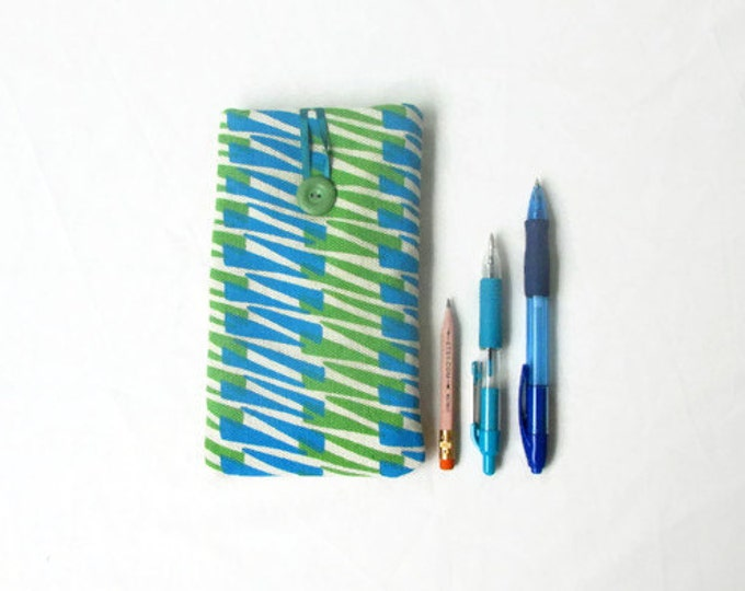 Blue and Green IPhone 6 plus cover, handmade in the UK