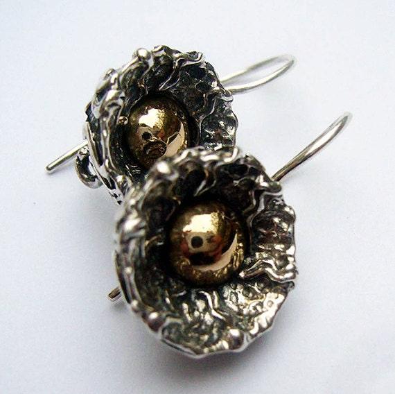 sterling silver earrings with 14k gold handmade earrings