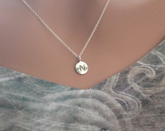Sterling Silver Simple N Initial Necklace, Silver Stamped N Necklace, Stamped N Initial Necklace, Small N Initial Necklace, N Initial Charm