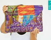 Purple Handmade Vintage Kantha Silk Clutch, Bridesmaids Clutch, Envelope Clutch with Sling , Over Sized Vintage Kantha Purse with Chain