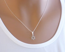 Star of David Necklace, Silver Necklace, Magen David necklace, Sterling Silver Star of David necklace, Dainty necklace, Jewish jewelry