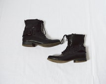 vintage black faux leather combat boots