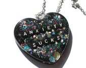 Social Anxiety Jewelry Big Resin Heart Pendant Anxiety Sucks Necklace Feminist Word Jewelry
