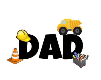 Construction Party Crew Dad Font and Back Decal