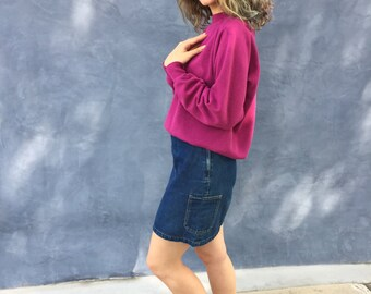 Vintage 90s Calvin Klein High Waist Blue Jean Mini Skirt