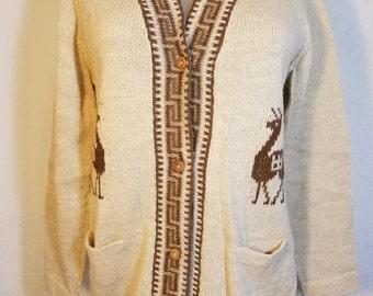 FREE  SHIPPING  Vintage Woman Alpaca Cardigan