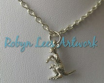 Small Silver 3D Kangaroo and Baby Joey in Pouch Charm Necklace on Silver Crossed Chain