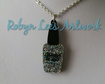Glitter Silver Nail Polish Laser Cut Engraved Acrylic Necklace on Silver or Gold Crossed Chain or Black Faux Suede Cord