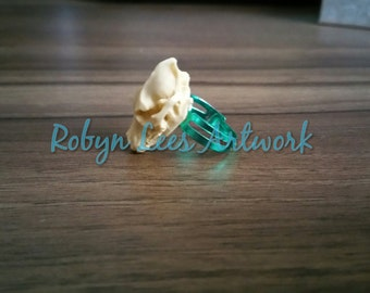 Limited Edition Resin Wolf Skull Ring on Adjustable Metallic Mint Green Rings