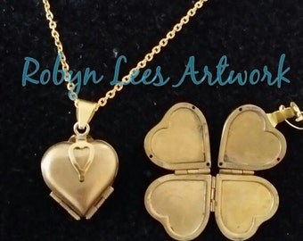 Gold Heart Clover Locket Necklace, Four-Fold, on Gold Crossed Chain