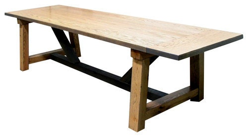 Solid oak beam table sale custom wood hand crafted rustic for Rustic farm tables for sale