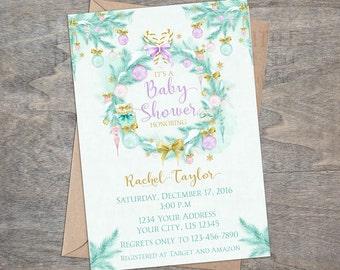 Winter Baby Shower Invitation | Christmas Mint Lavender Purple Gold Watercolor Ornament digital  |