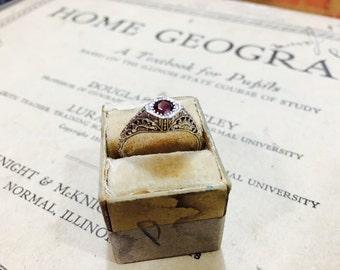 Vintage Sterling Silver and Brown Garnet Gemstone Ring - Size 7.75