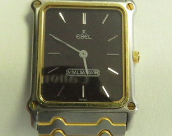 "Vintage Estate 18 kt Gold & Stainless Steel EBEL Vidal Sassoon Swiss Quartz 7"" Wrist Watch."
