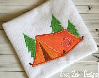 Camping Tent with trees Appliqué Embroidery Design - camping appliqué design - camp appliqué design - tent appliqué design