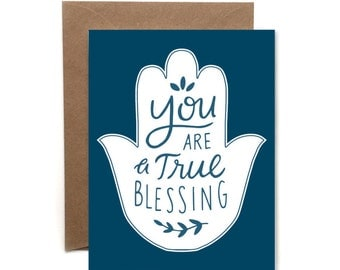 You Are a True Blessing // Letterpress Card // Friendship Card // Thank you Card // Yoga Card