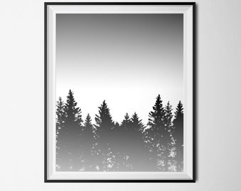 Tree Print, Forest Poster, INSTANT DOWNLOAD, Black and White 16 x 20 Poster, Trees Printable Art, Pine Tree Print, Treeline Print, Pines