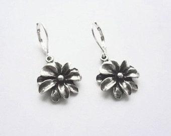 Dahlia  antique silver earrings FREE SHIPPING