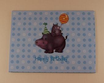 Hippo Children's Birthday Card