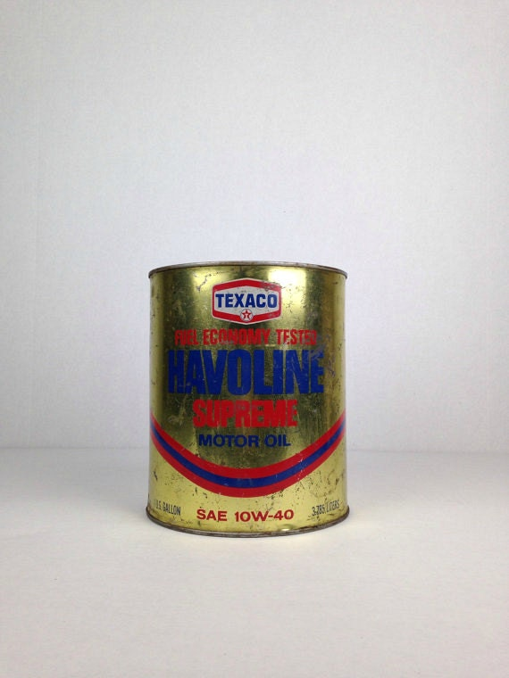 Vintage texaco oil can havoline supreme one gallon motor oil for Is havoline motor oil good