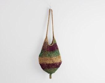woven market bag / jute market bag / striped straw bag