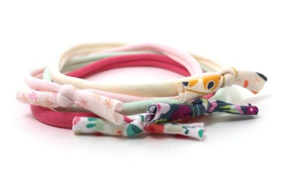 Baby Headband / Tiny FLORAL PRINT Knot Bow / Infant Skinny Very Stretchy One Size Fits ALL Nylon / Newborn Headband / Baby Girl Headband