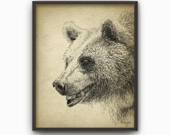 Grizzli dessin etsy - Dessin de grizzly ...