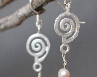 Spiral Earrings with Pearls,spiral earrings,sterling earrings,silver earrings,silver drop earrings