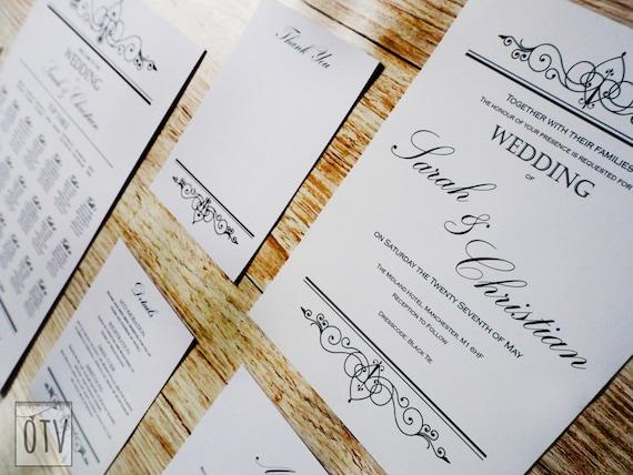New** Black Tie - Elegant - Wedding - Invitation - Black - White - Sophisticated - Calligraphy - Personalized - Printable - PDF - Digital