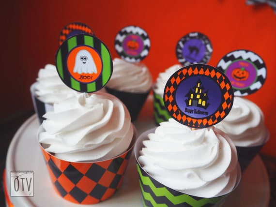 Halloween - Personalised - Cupcake Toppers - Pumpkin - Trick or Treat - Bats - Child - Friendly - Ghost - Haunted House - PRINTABLE - PDF